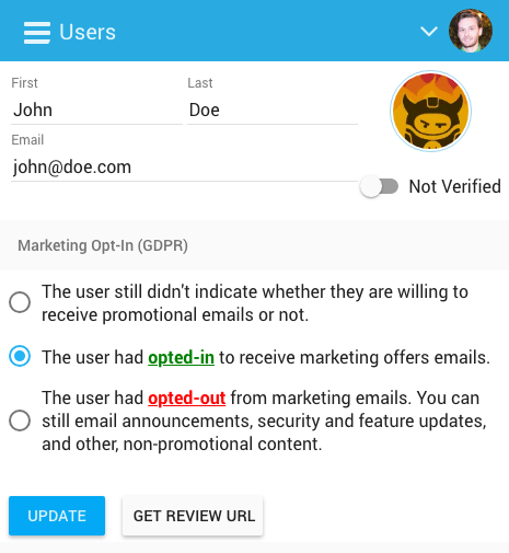 freemius dashboard user profile is marketing allowed flag