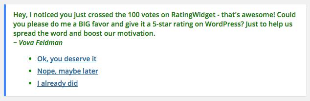 RatingWidget Plugin Review Notice