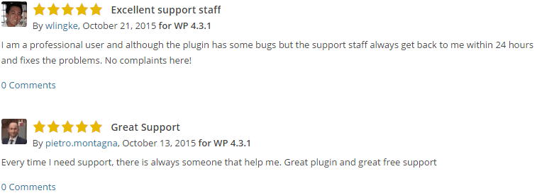 Supporting your plugin matters.