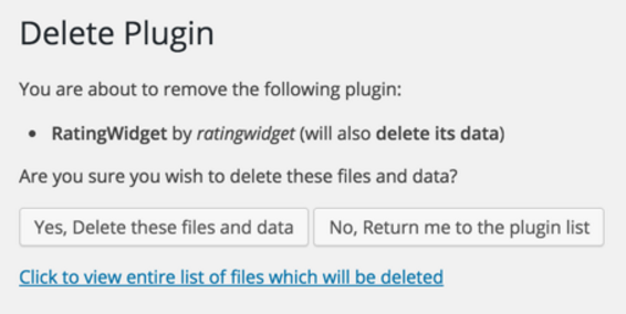 Delete Plugin confirmation page
