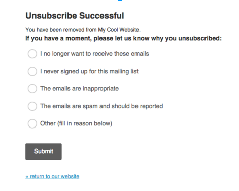 unsubscribe a MailChimp-powered email campaign