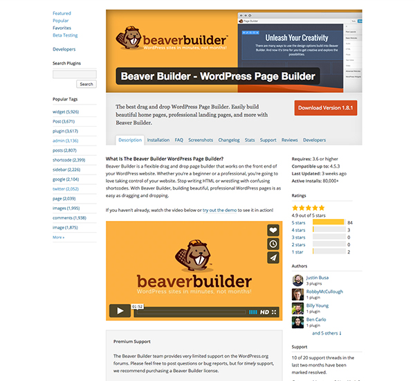 A look at the long description for the Beaver Builder plugin.
