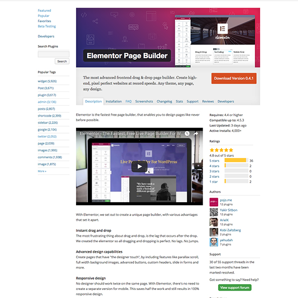 A look at the long description for the Elementor Page Builder plugin.