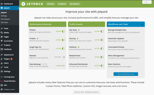 Jetpack employs subtle branding to identify itself without detracting from the WordPress UI.