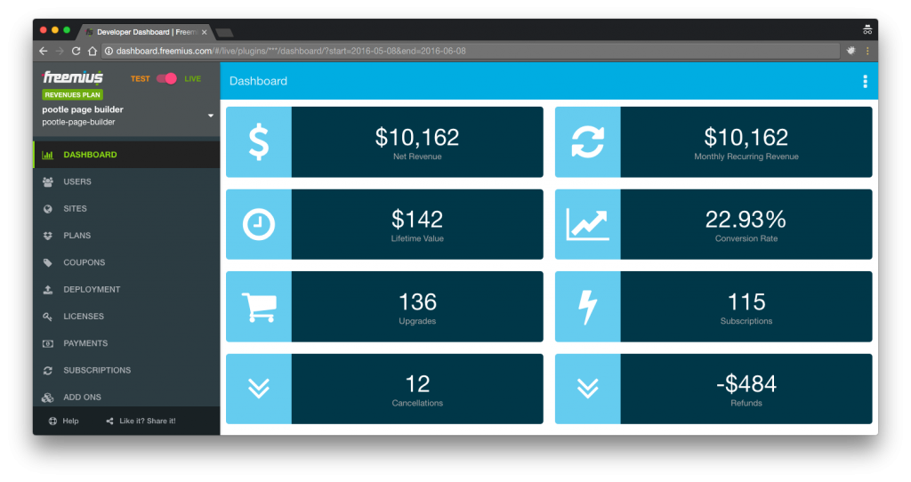 Pootle Pagebuilder Freemius dashboard screenshot