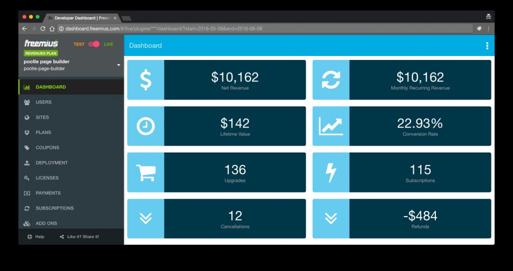 Pootle Pagebuilder Freemius dashboard screenshot