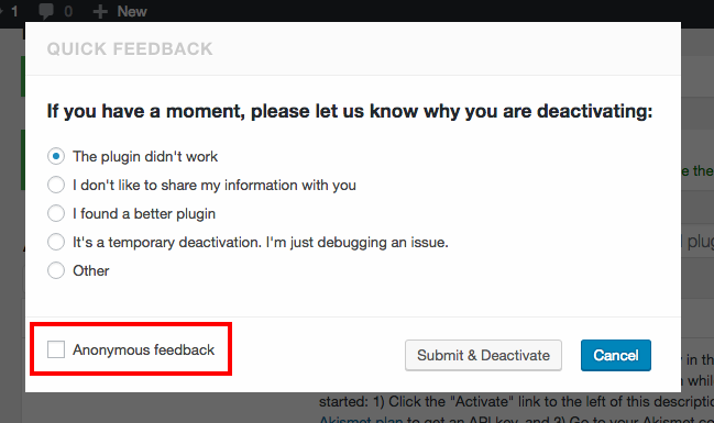 uninstallation feedback form