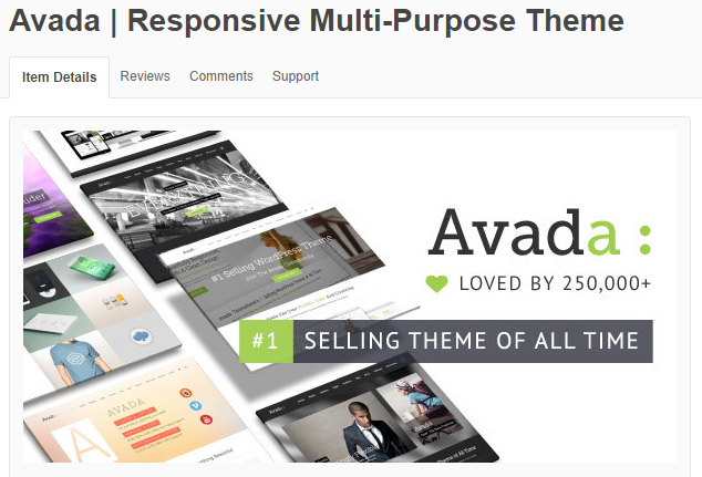 Most popular theme on ThemeForest is Avada