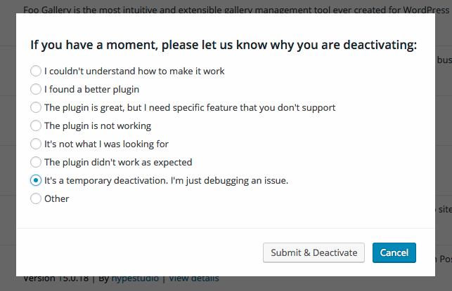 deactivation feedback form