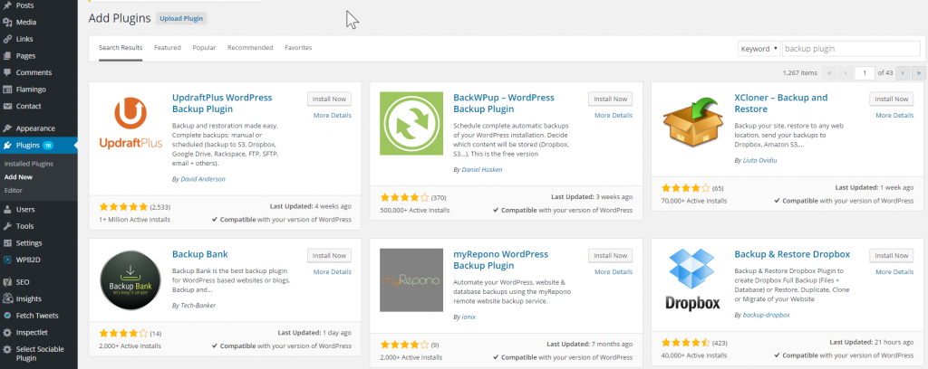Admin dashboard plugin search results
