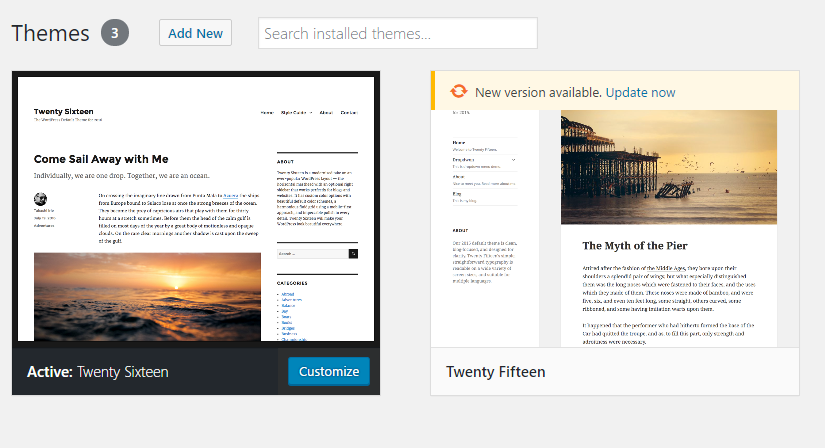 the Themes view in wp-admin