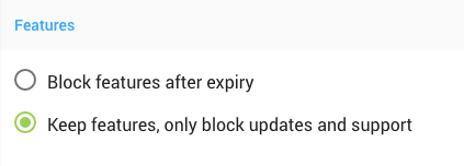 Choosing to keep or block features after trial expiry