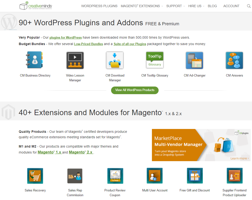 CreativeMinds offers WordPress-based plugins alongside Magento-based extensions