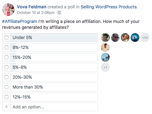a poll on Selling WordPress Products Facebook group