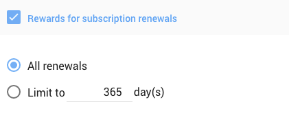 limit renewal rewards to a specified number of days
