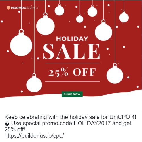 MooMoo agency holiday sale banner for UNICPO4 WordPress Plugin