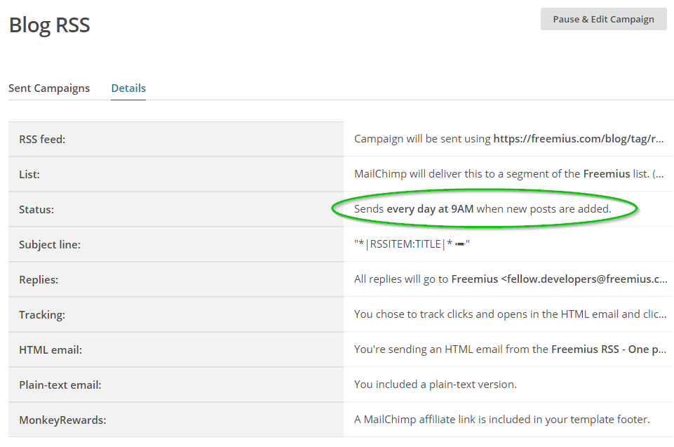 The Freemius automated email RSS Blog Campaign Summary