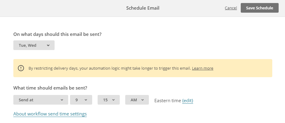 Configure the automated emails sending schedule