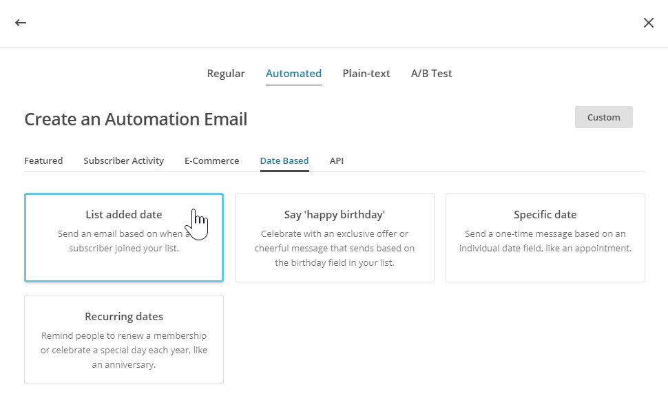 "selecting an ""Automated"" email type"