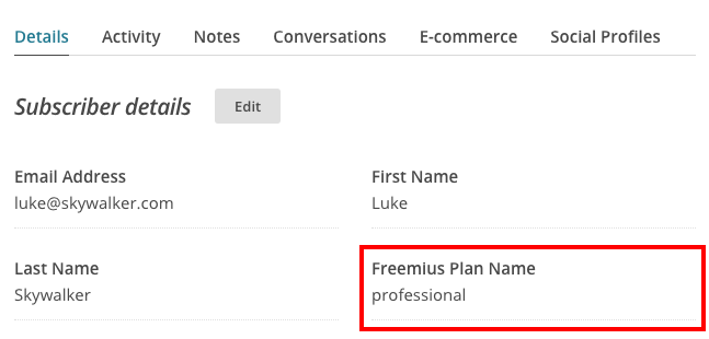 Freemius MailChimp Plan Merge Field