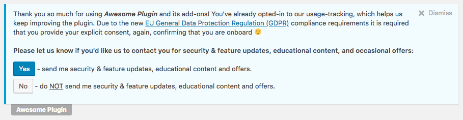 Freemius sdk GDPR opt-in admin notice