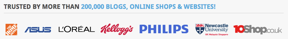 The logos section on the RatingWidget website