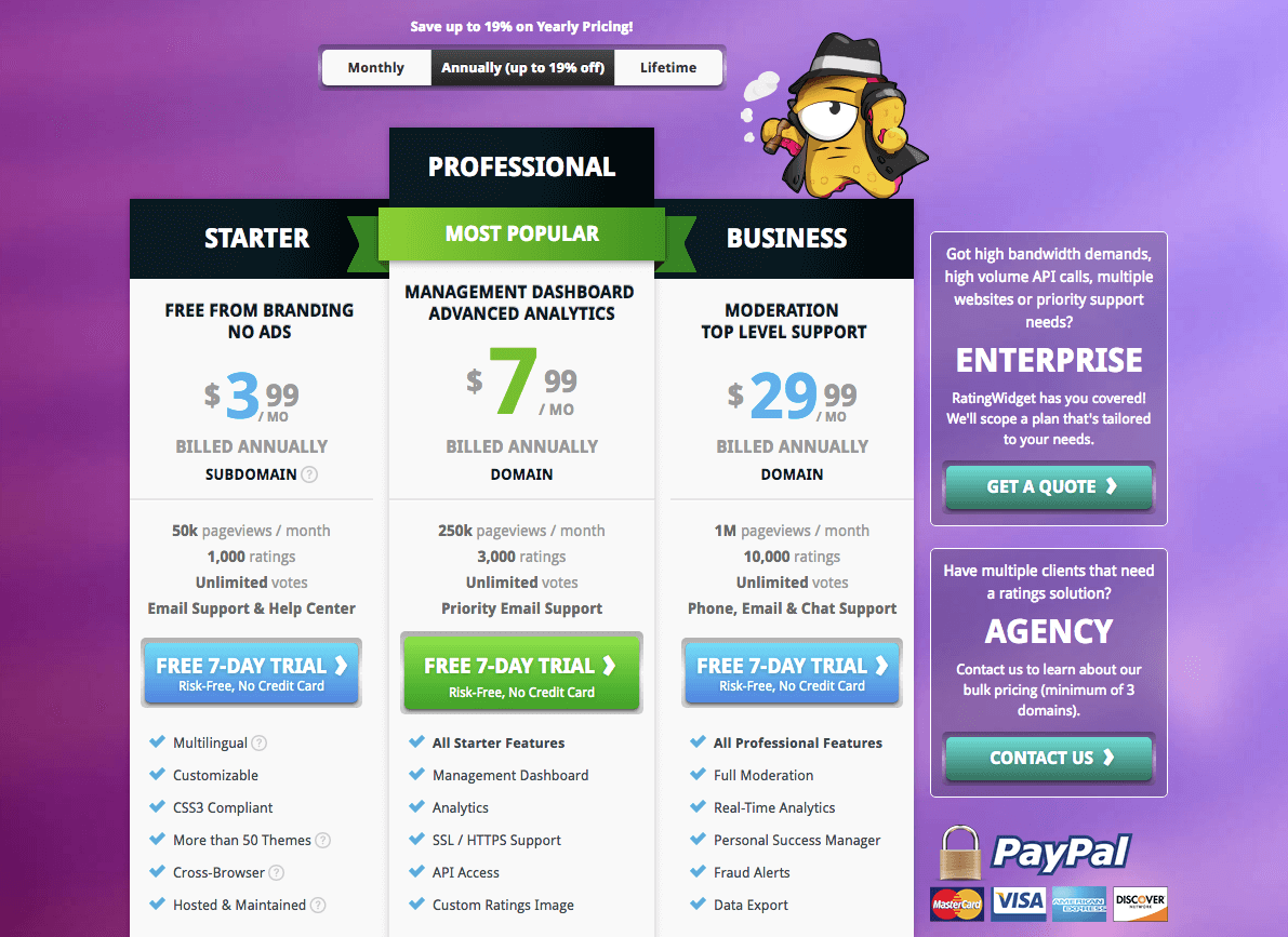 The complete pricing page on the RatingWidget website
