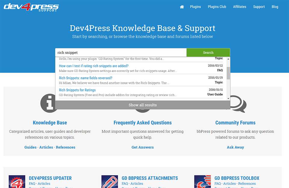 The GD Knowledge Base plugin in action