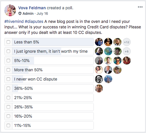 "Poll results on Credit Card Disputes via the ""Selling WordPress Products"" group"