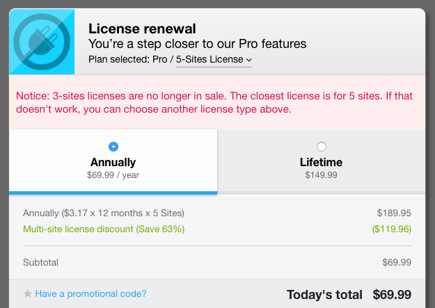 Freemius Checkout - License Renewal Missing Pricing Notice