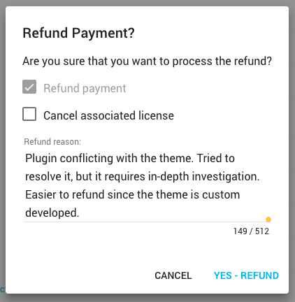 Freemius Developers Dashboard - Refund Reason Dialog Box