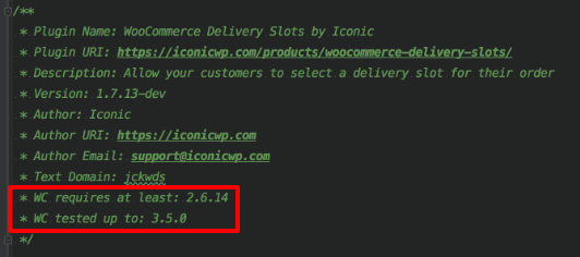 WooCommerce Extension - Plugin Compatibility Header