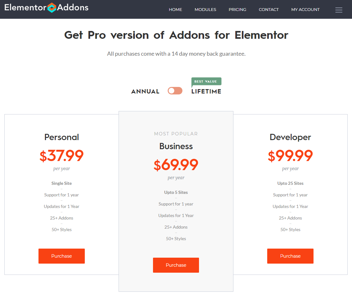 Elementor Addons pricing reduce the font size of the .99 cents