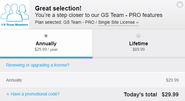 The GS Team Members checkout screen