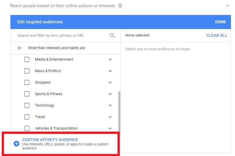 A Custom Affinity Audience on Google AdWords