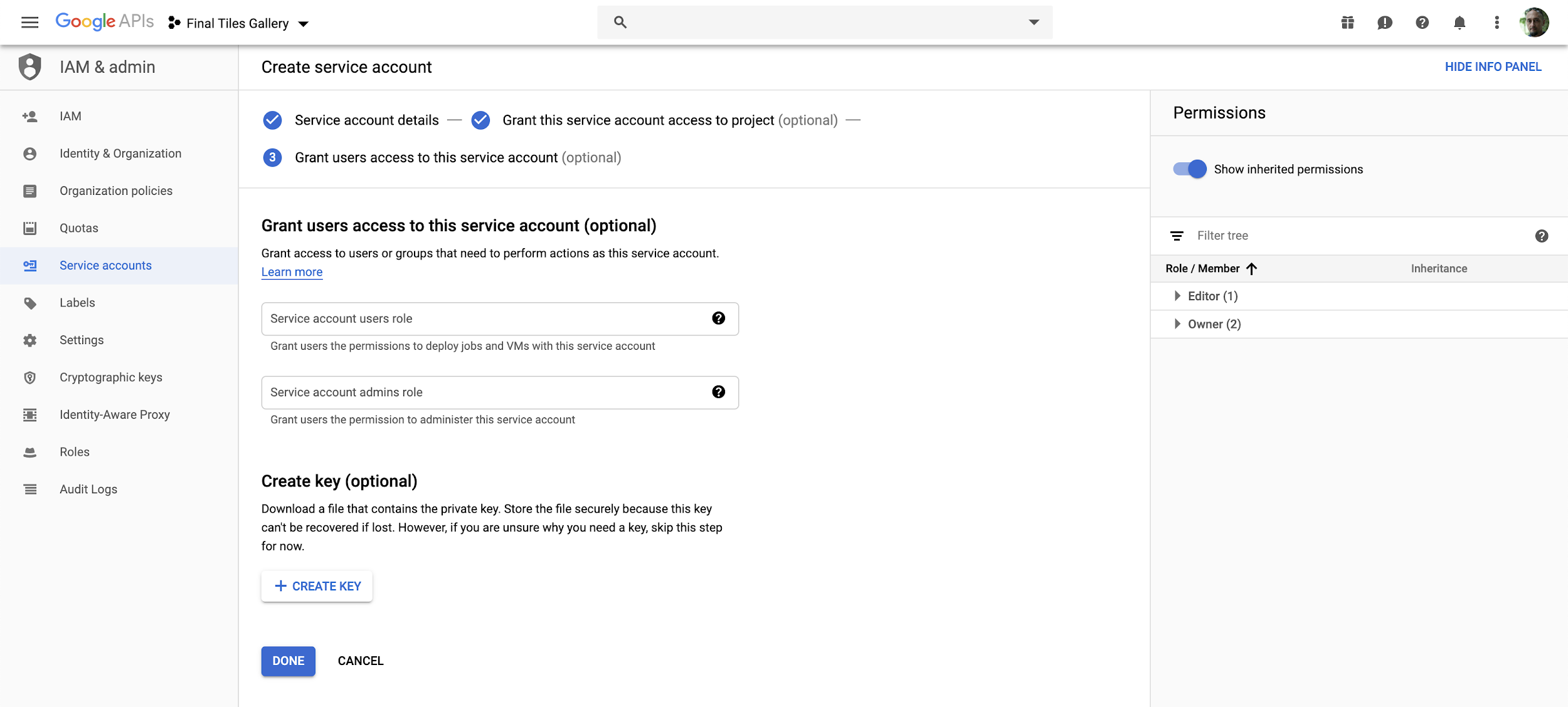 Google Cloud Service Account Creation Key Enable