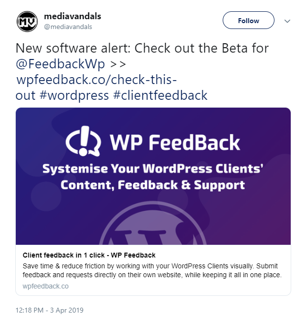 Tweet for WP FeedBack