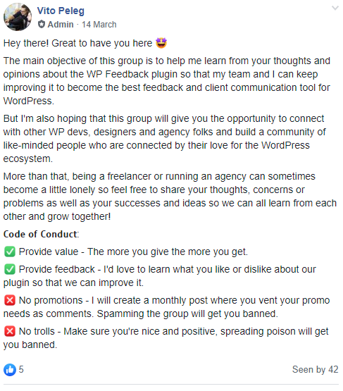 WP FeedBack Facebook group rules
