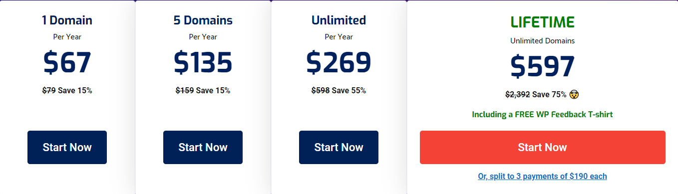 WP FeedBack pricing table