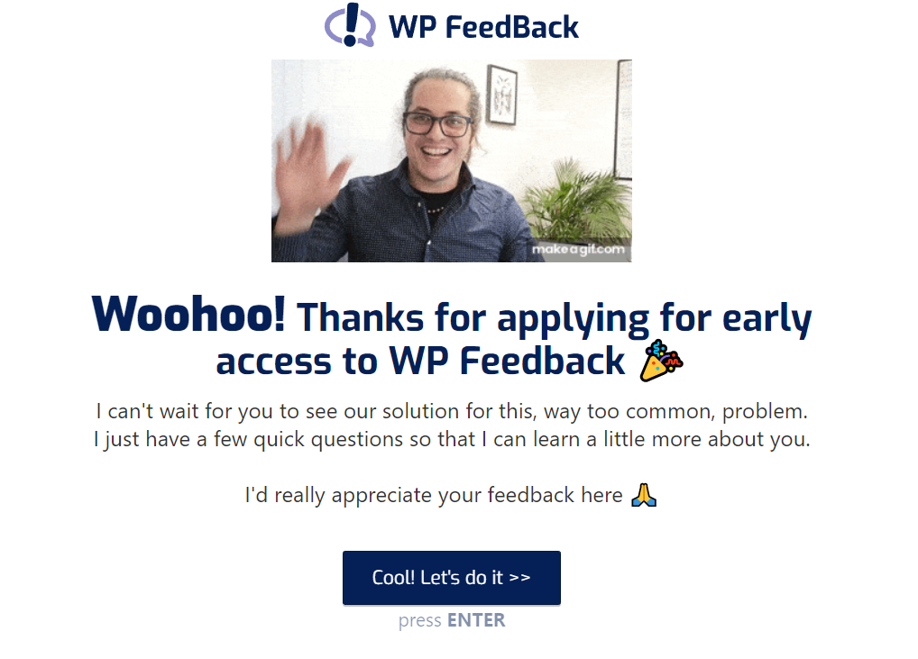 WP FeedBack survey landing page