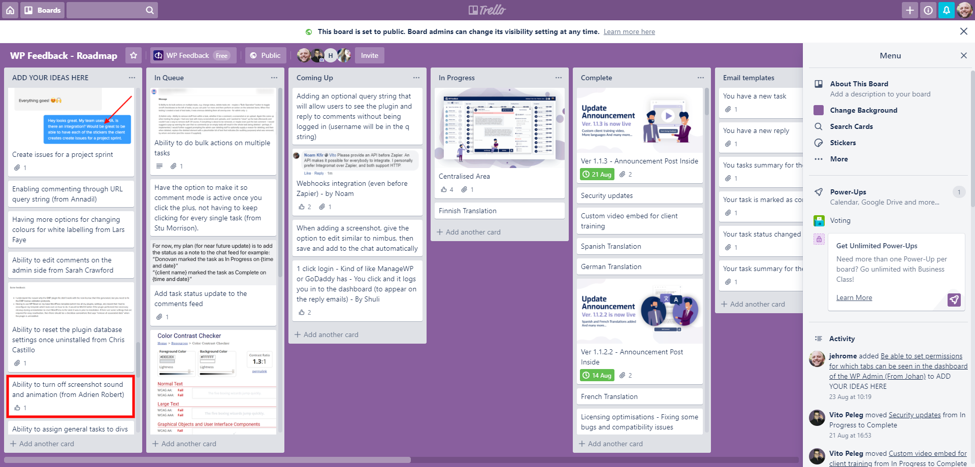 WP FeedBack Trello roadmap