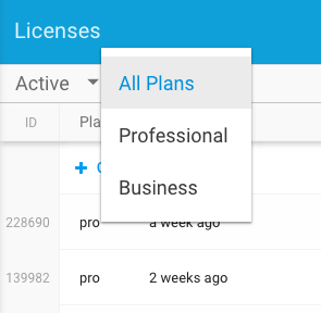 Licenses Plans Filter - Freemius Developer Dashboard