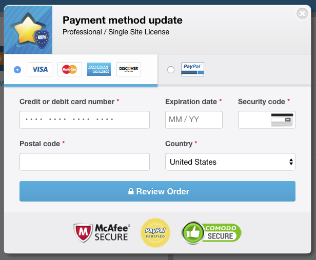 Payment method updating - Freemius Checkout