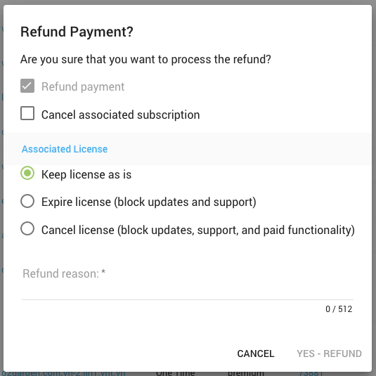Payment Refunds - Freemius Developer Dashboard