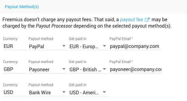 Freemius Developer Dashboard - Setting Payout Methods