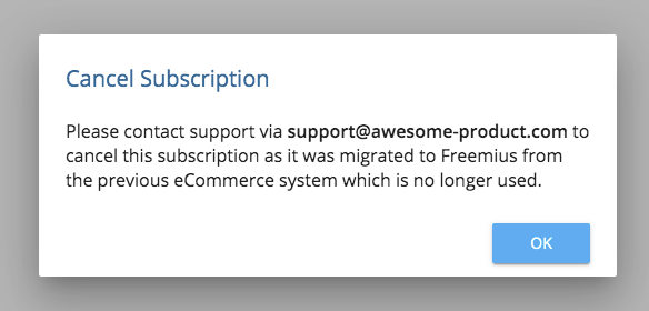 Freemius User Dashboard - Migrated subscription cancelation