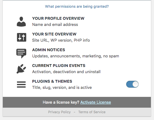 Freemius WordPress SDK - Opt-In Permissions