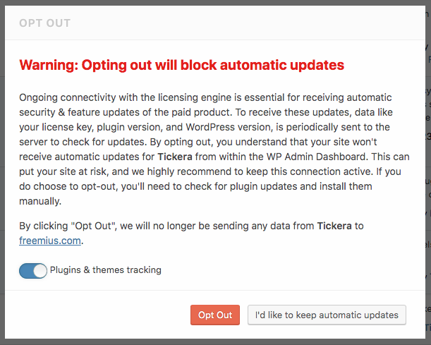 Freemius WordPress SDK - Out Out Dialog