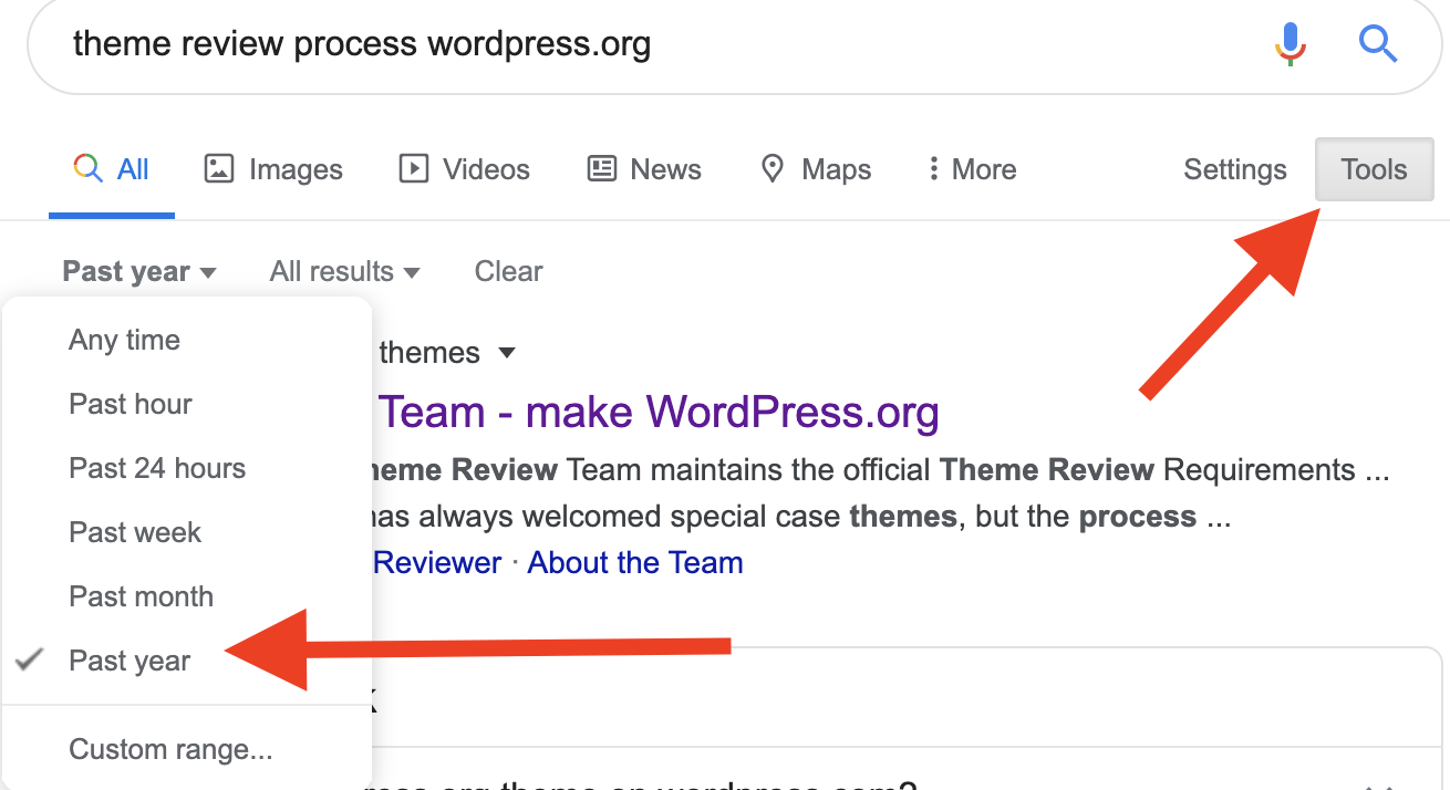 Google Advanced Search within 1 year for theme review process