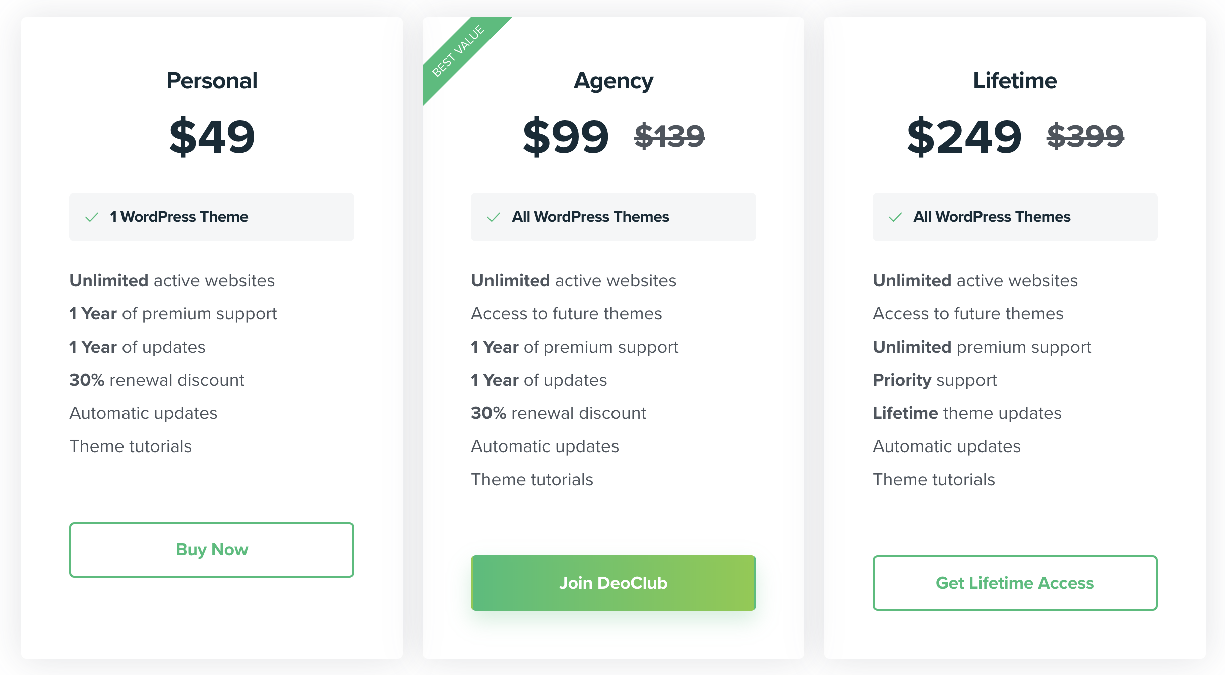 DeoThemes Pricing Table